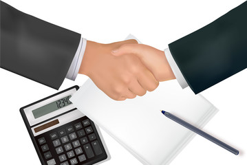 Handshake over paper with pen and calculator. Vector.