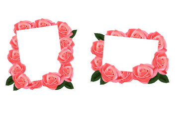 Pink roses and white paper cards. Vector.