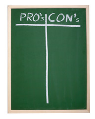 finance business graph on chalkboard pros and cons column