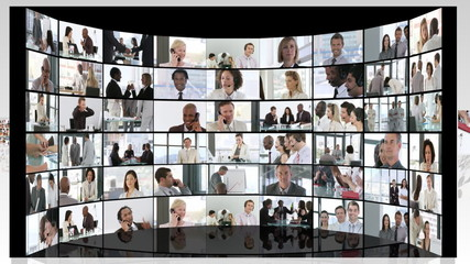 several business footage in white space