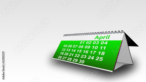 3D calendar showing month against a white background