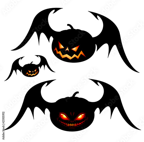 Halloween pumpkins with wings