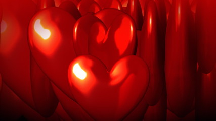 Red 3d hearts moving