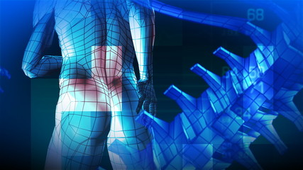 3d blue man with back pain animation