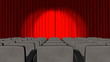 3d curtains opening in a theatre