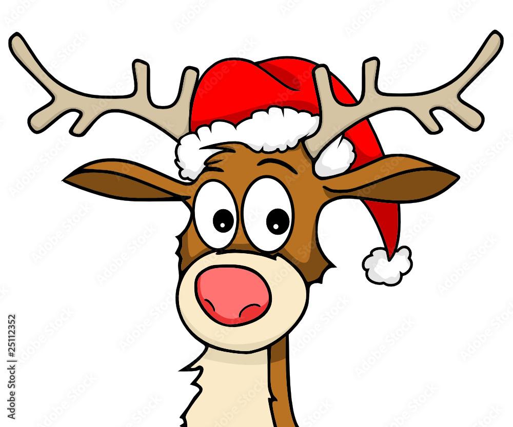 Rudolph Mit Weihnachtsmtze Sticker By Stickersticker