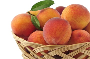 peaches in the basket close up