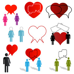 love and dating chat icons