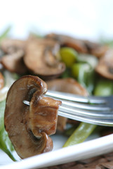 Sauted mushrooms with green beans