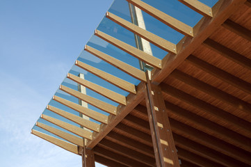 Construction site: glued laminated timber