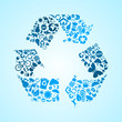 Blue eco recycle icons