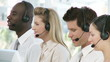 multi-racial team working in a call center