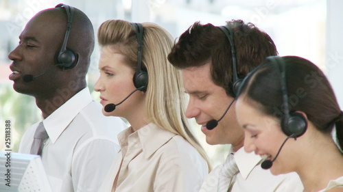 Business team with headphones on