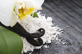 vanilla beans with aromatic sugar and flower poster