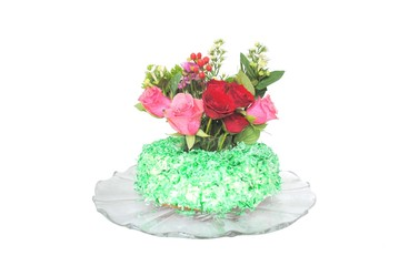 bundt cake, frosted with green coconut
