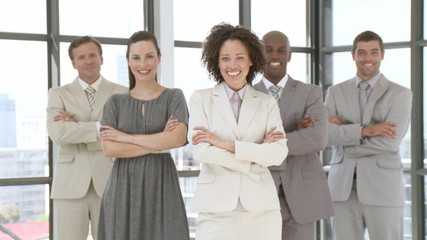 Businesswoman joining her business team