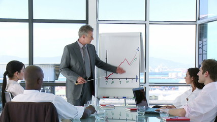 CEO in a business meeting explaining with a Whiteboard