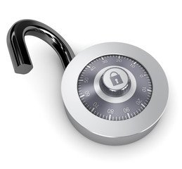 opened combination lock