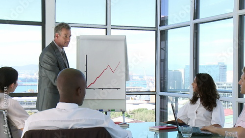 CEO explaining with a blackboard results