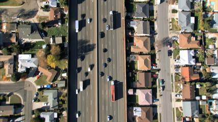 Aerial view of suburban freeway traffic