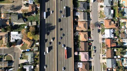 Aerial view of suburban freeway traffic