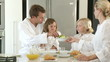 Confident Family eating healthy breakfast