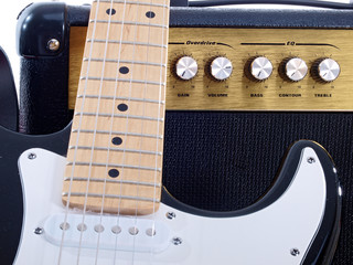 guitar and amp isolated on white background