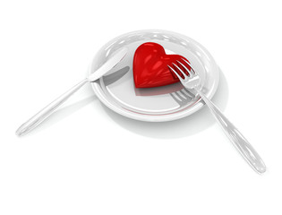 Heart with fork and knife