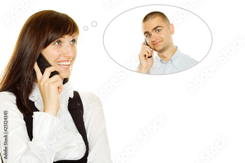 Young woman on the phone with a guy