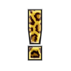 3d letter with panther skin texture - exclamation point