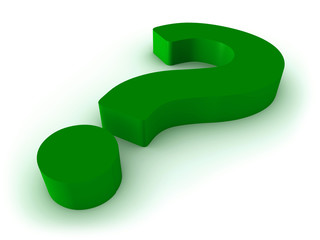3D render of green question mark isolated on white background.