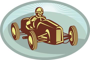 vintage race car driver racing