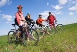 Fototapety A group of four adults on bicycles in the countryside