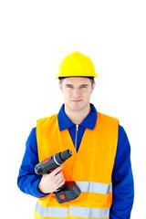 Assertive worker holding a cordless screwdriver