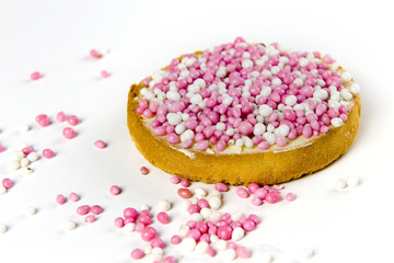 rusk with pink and white mice