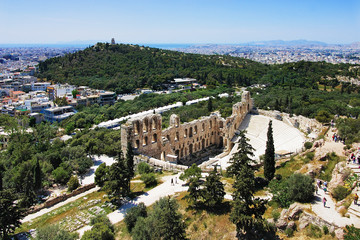 Odeon of Herodes Atticus and Philopappus hill in Athens, Greece