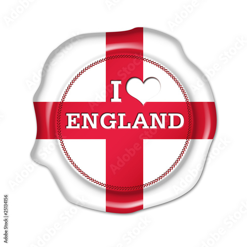 i love england button, seal, stamp