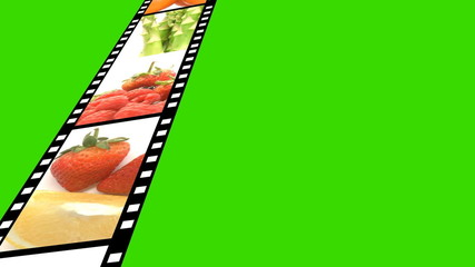 film with fruits moving into a green space