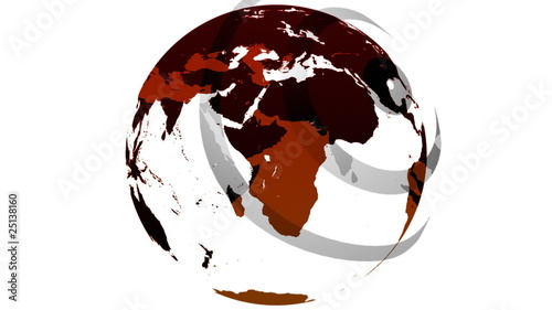 3d red and white globe in motion