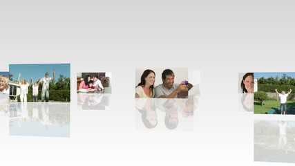 montage of families footages
