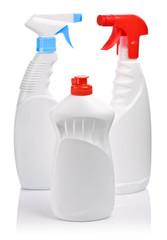 spray bottles and bottle of gel