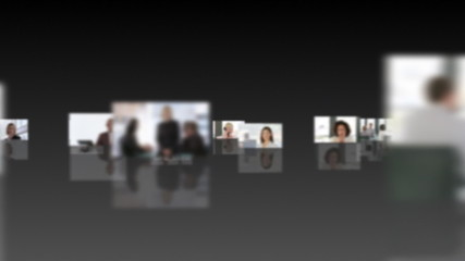 Montage of business people working against black background