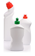 white cleaning bottles