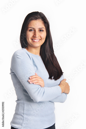 Confident young woman portrait isolated on white