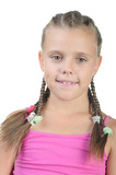 Little girl with pigtails poster