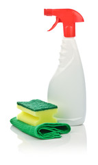 sponge on kitchen towel and spray bottle