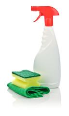 sponge on kitchen towel and spray bottle
