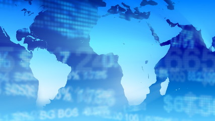 Stock market with world map in background