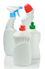 four bottles for cleaning