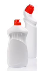 isolated white bottles for clean